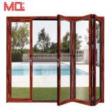熱壊れ目のアルミニウムバルコニーの折れ戸の価格のガラススタッキングのドア