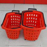 Cestino di plastica della maniglia di acquisto di rotolamento del supermercato