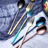 Couleur Rainbow en acier inoxydable longue poignée cuillères à soupe & fourches écope cuillère à café de thé de crème glacée maison de la vaisselle de la vaisselle de la coutellerie