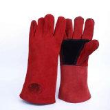 Сшитое 16 дюйма Ред Кау Split кожаные перчатки сварки