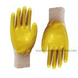 Желтый нитриловые перчатки с покрытием из хлопка рабочие перчатки