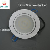 CE RoHS 4000k 12W LED de 3 pulgadas Downlight giratorio, regulable en LED SMD LED de luz, luz tenue