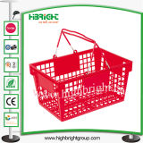 Cesta de compras plástica de la maneta doble para el supermercado