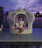 Новый дизайн плетеной мебели в саду у бассейна короны кровать с навесом Ytf951)