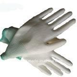 PU покрытием белого цвета нейлоновые антистатические перчатки
