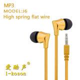 Conception de logo OEM élastique plat dans l'oreille des écouteurs de la Force pour MP3