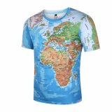 Overhemden van het T-stuk van het T-stuk van de Kaart van de Wereld van de Mensen van de T-shirt van het merk 3D