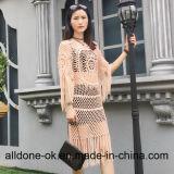 Nova Mão Moda Crochê Verão vestido com franjas