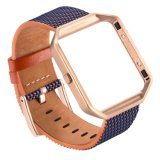 Vigilância de couro real bracelete trança pulseiras banda Link+Metal para Fitbit Blaze