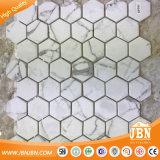 ¡Nuevo! Mosaico de cristal Acoplamiento-Montado Statuario de Carrara del hexágono (V6KP701-BH)