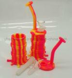 2018 Nuevo tubo de silicona Pulpo Fumar Papá Rig con recipiente de vidrio o de cuarzo Banger
