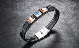 2017の方法人のためのレトロのニットの革チタニウムの鋼鉄十字の革Bracelet&Bangles