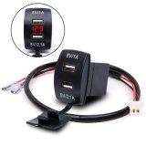 Etanche 12V-24V Mini Micro Dual USB Plug moto voiture allume-cigare Chargeur de voiture compteur + Voltmètre numérique à LED