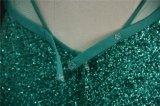 Grüne Sequin-Spitze, die Nixe-Abend-Kleid bördelt