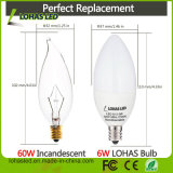 bombilla de la vela de 110-130V Dimmable 110-240V Non-Dimmable 5W 6W E12 LED para la decoración casera