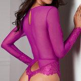 Чисто сетка Bodysuit длинной втулки женщин Sexy глубоким V шеи Sexy Romper Jumpsuits плюс размер тела Feminino кружева Bodysuit