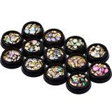Noël a mélangé talons de Rhinestones de diamant de mini le scintillement qu'en travers d'art de clou du cercle 3D de pierre gemme neuf obtiennent les décorations de clous de cristal de cadre de bijou (NA07)
