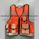 Тельняшка безопасности специальной сетки конструкции отражательная с застежка-молнией и карманн