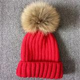 Hut des gute Qualitätsgestrickter Beanie-Schutzkappen-Frauen-Winter-Hut-Waschbär-Pelz-POM