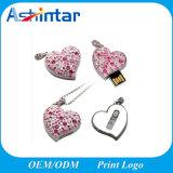 Clé de mémoire USB en métal de mémoire de flash USB de forme de coeur de diamant mini