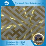 304 El Color de espejo pulido grabado Placa de acero inoxidable para ascensor