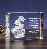De Kubus van het Kristal van de Giften van Kerstmis met de Grootte van de Douane en de Gravure van het Embleem
