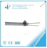Cable óptico de alto voltaje de fibra del solo modo de la base de Opgw 6 con el conjunto del tambor de acero