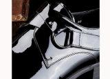 Os calçados pretos do vestido da forma dos homens do couro de patente calç Loafers dos homens