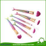 Цвета радуги косметический синтетические волосы составляют щетки Русалки макияж щетки рыб и задние щетки