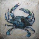 ハンドメイドのキャンバスの壁の芸術の青カニの油絵はKnifeによって苦しんだ
