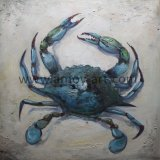 Ручная работа морской жизни Canvas стены искусства синий краб масляной живописи переживаем в ножа