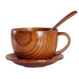 Taza de café de madera con Posavasos y cuchara taza de té