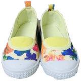 2018 Sunny niños Zapatos de lona de flores blancas de PVC de niños lindos zapatos con elástico de deslizamiento de las niñas sobre los zapatos