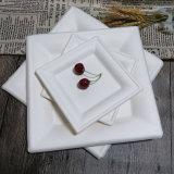 Compostable 사탕수수 찌지 식기류 백색 사각 생물 분해성 격판덮개