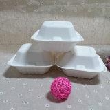 使い捨て可能なクラムシェルによって蝶番を付けられる食糧容器の生物分解性のバガスのお弁当箱