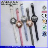 Orologi delle signore del quarzo della vigilanza della cinghia di cuoio del ODM (Wy-065A)