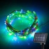 정원 조경 축제를 위한 옥외 다채로운 100개의 LED 태양 구리 끈 크리스마스 불빛 훈장 빛