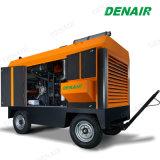 1600 cfm дизельного двигателя мобильные Переносные Подвижные двухступенчатый винтовой компрессор с двойной