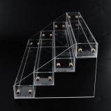 Organização acrílica elevada do carrinho de indicador do batom do varejo da composição de Transperence