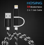 Buntes Gewebe umsponnenes USB-Aufladeeinheits-Synchronisierungs-Daten-Kabel für iPhone/Samsung