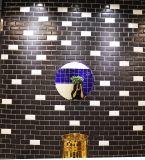 Schwarzes 4X8inch/10X20cm glasierte glatte abgeschrägte keramische Wand-Untergrundbahn-Fliese-Badezimmer-/Küche-Dekoration