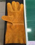 Перчатки заварки безопасности полной коровы кожаный работая