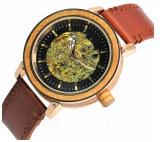 중국 공급자 주문 로고 기계적인 시계 가죽끈 나무로 되는 자동적인 시계