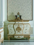 A mão da madeira 0067 contínua cinzelou o gabinete clássico de pintura afligido da gaveta