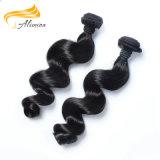 Cheveu malaisien de Vierge de qualité non transformée noire normale