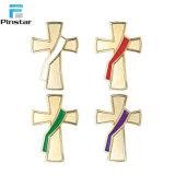 たくさん布の装飾のためのニースデザイン十字架像のエナメルの折りえりPin