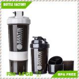 Bottiglia di plastica dell'agitatore della proteina della bottiglia 500ml del ragno con 2 contenitori