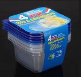 4 in 1 Rechthoekige Container van de Opslag van het Voedsel Plastic Luchtdichte Plastic die met Deksel wordt geplaatst