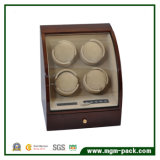 De pie de madera giratorio 4 watch winder con LED