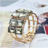 Tono Gold Bangle pulseras de la plaza de la fila de dos claras de imitación Estrás (PB-089)